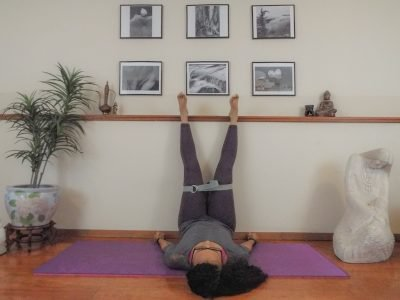 yoga strap legs up the wall