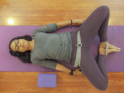yoga strap reclined bound angle